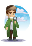 Detective cartoon with separated layers Stock Photos
