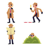 Detective character with magnifying glass, disguising, spying from a bush. Detective character with magnifying glass, sleuthing, disguising, maintaining vector illustration