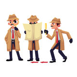 Detective character with magnifying glass, disguising, spying Stock Photo