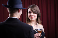 Detective and charming woman Stock Image