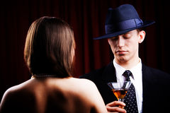Detective and charming woman Royalty Free Stock Image