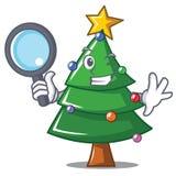 Detective Christmas tree character cartoon. Vector illustration Stock Photos