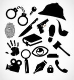 Detective crime icon set collection Stock Images