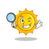 Detective cute sun character cartoon. Vector illustration Royalty Free Stock Images