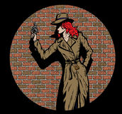 Detective de la muchacha del viejo estilo, por ejemplo a partir de los años '50 Fotos de archivo