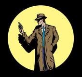 Detective del viejo estilo, por ejemplo a partir de los años '50. Imagenes de archivo