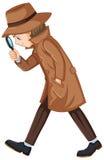 Detective die aanwijzingen met vergrootglas zoeken vector illustratie