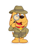 Detective dog. Clipart picture of a detective dog cartoon character Royalty Free Stock Photos