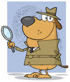 Detective dog holding a magnifying glass Royalty Free Stock Images
