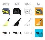 The detective flashlight illuminates the footprint, the criminal hand with the master key, a pistol in the holster, the. Kidnapper claim. Crime and detective vector illustration