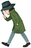 Detective in green overcoat with magnifying glass. Illustration Stock Photo