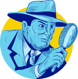 Detective Holding Magnifying Glass Circle Drawing Stock Photography