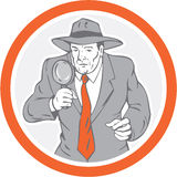 Detective Holding Magnifying Glass Circle Retro Royalty Free Stock Photo