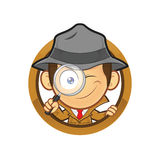 Detective holding a magnifying glass with circle shape. Clipart picture of a detective cartoon character holding a magnifying glass with circle shape stock illustration
