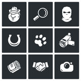 Detective icon set Royalty Free Stock Images