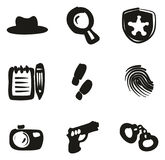 Detective Icons Freehand Fill Imágenes de archivo libres de regalías