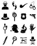 Detective icons set. In black Stock Photos