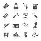 Detective icons set black. Police detective and crime evidence icons black set with handcuffs magnifier fingerprints isolated vector illustration Royalty Free Stock Images