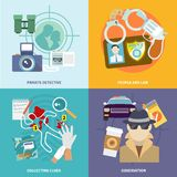 Detective icons set flat. Police detective icons flat set with people and law collecting clues observation isolated vector illustration Stock Photos