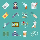 Detective icons set. Police detective and criminal icons set of thief gun jail and flashlight isolated vector illustration Stock Photos