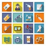 Detective Icons Set. Police detective icons flat set with magnifier handcuffs coffee isolated vector illustration Royalty Free Stock Photography