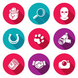 Detective Icons Set. Vector Illustration Royalty Free Stock Photography