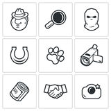 Detective icons set. Vector illustration Royalty Free Stock Photos