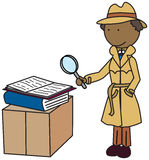 Detective. Illustration of a detective looking through a magnifying glass stock illustration
