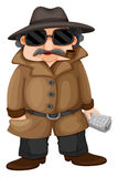 A detective. Illustration of a detective on a white background Stock Photos