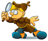 Detective Investigate. Cartoon illustration of young detective investigate a case Royalty Free Stock Photography