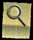 Detective investigate. Paper clue and magnifying glass Stock Photo