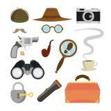 Detective Items Set Vector Agente técnico Accessories Sombrero, vidrios, bigote, tabaco, cámara, lupa, cerradura, llave Foto de archivo