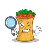 Detective kebab wrap character cartoon. Vector illustration stock illustration