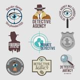 Detective label set. Police private detective agency labels badges and stamps set isolated vector illustration Royalty Free Stock Image