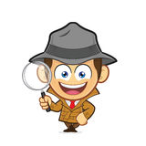 Detective leaning on an empty block. Clipart picture of a detective cartoon character leaning on an empty block Stock Photos