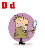 Detective With Letters D. Funny Cartoons Alphabet-Detective With Letters D royalty free illustration