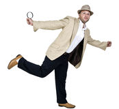 Detective with magnifier Royalty Free Stock Photography