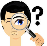 Detective with magnifier glass Royalty Free Stock Photo