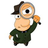 Detective with magnifying glass. Cartoon illustration of funny detective with magnifying glass Stock Photo