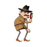 Detective with magnifying glass. Illustration of mustachioed detective looking through magnifying glass stock illustration