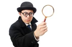 Detective with magnifying glass  isolated on the Royalty Free Stock Photo