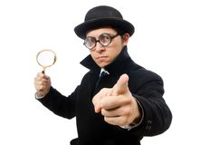 Detective with magnifying glass  isolated on the Stock Photos