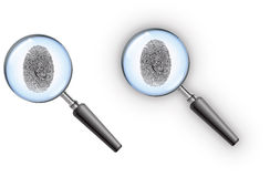 Detective Magnifying Glass. Private detective magnifying glass with a fingerprint in the lens Royalty Free Stock Photos