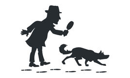 Detective with magnifying glass and tracker dog silhouette Royalty Free Stock Photo