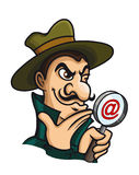 Detective with magnifying glass for web search Stock Photo