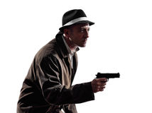Detective man criminal investigations  silhouette Stock Photos