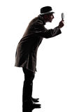 Detective man criminal investigations silhouette royalty free stock photo