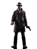 Detective man criminal investigations  silhouette. One detective man criminal investigations investigating crime in silhouette on white background Royalty Free Stock Photos