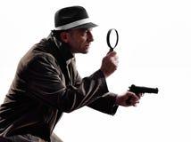 Detective man criminal investigations  silhouette Stock Image