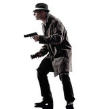 Detective man criminals investigations  silhouettes Royalty Free Stock Photo